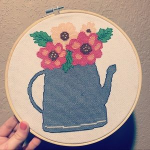 🔴Watering can cross stitch
